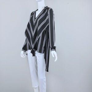 {Peter Nygard} Black/White Striped Maxi Tunic Top
